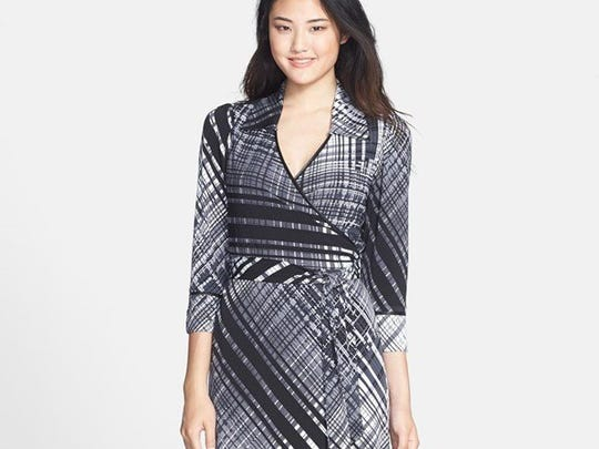 Plaid jersey wrap dress by Andrew Marc for Marc New York is $128 at www.nordstrom.com.