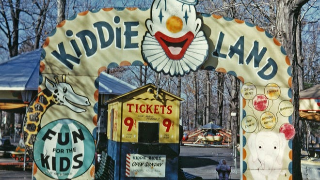 Kiddie Land was just north of the zoo's main building, near an area now occupied by a rhino exhibit, April 1965.