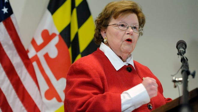 Sen. Barbara Mikulski, D-Md., the longest-serving woman in the history of Congress, speaks during a news conference announcing her retirement in the Fells Point section of Baltimore on March 2, 2015.