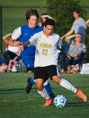 Central Magnet Junior Luis Sanchez battles for possession of the ball during a Spring Fling contest last season. Sanchez is one of the top returnees for the Tigers.