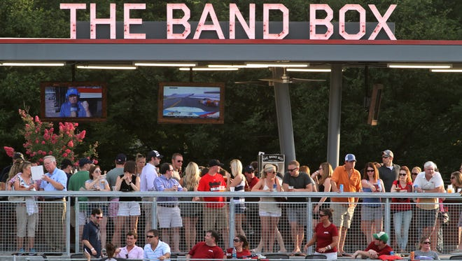 Baseball fans line up to watch the Nashville Sounds ballgame from The Band Box.