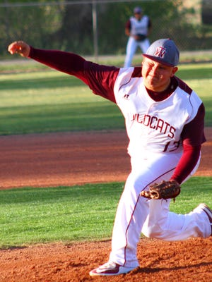 Tularosa senior Andres Aragon throws a pitch Saturday evening.