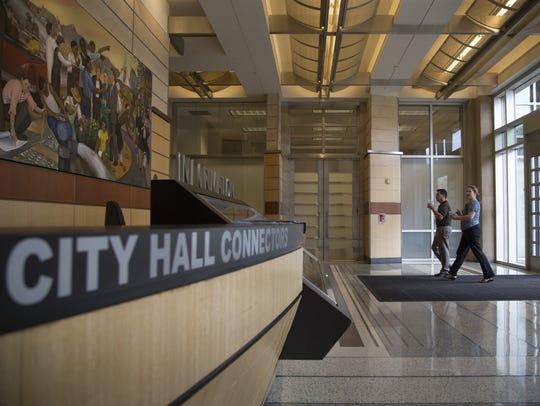 Visitors enter Phoenix City Hall through the southwest
