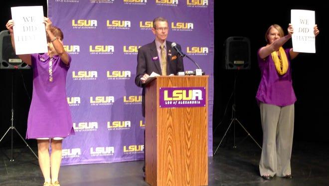 LSUA officials announce climbing enrollment numbers Monday.