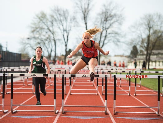 Hanover's Saranda Gerlach competes in the girls' 100