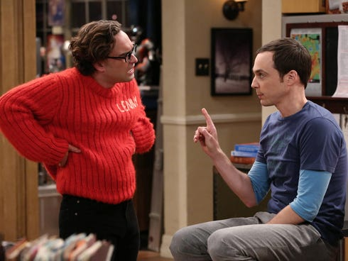 Leonard (Johnny Galecki) tries to keep Sheldon (Jim Parsons) from overreacting when a past mistake comes to light on CBS comedy 'The Big Bang Theory.'