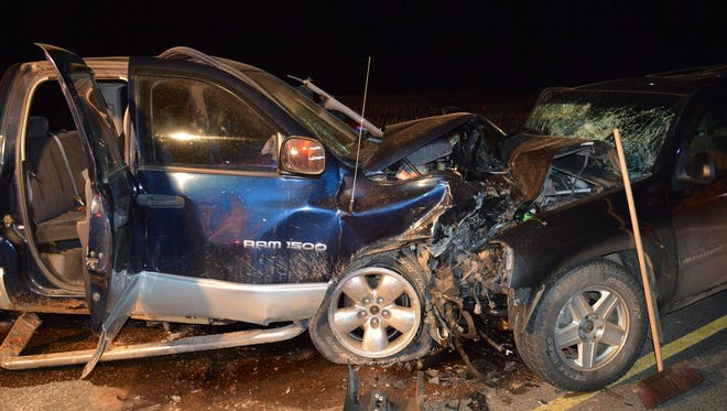 Three people were injured in a three-vehicle crash in the town of Cassel Thursday night.