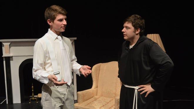 "Eric Howard and John Zampino rehearse a scene from ""Career Angel"" at St. Lawrence Seminary in Mount Calvary."