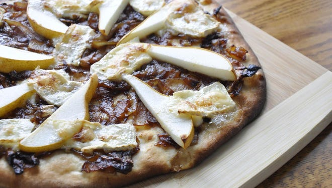 Pear, Brie and Onion Flatbread is from King Arthur Flour.