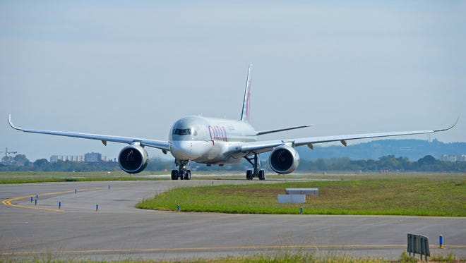 Qatar Airways' first Airbus A350 is seen on Oct. 15, 2014. Airbus expects to deliver the jet to Qatar Airways by the end of 2014.