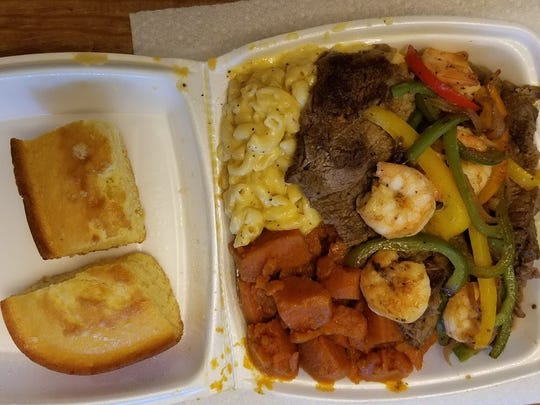 The steak and shrimp combo is another filling option.