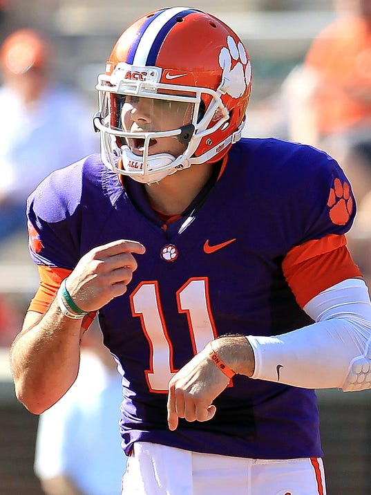Former Red Lion quarterback Chad Kelly, seen here during his days at Clemson, is in a three-way battle for the starting job at Ole Miss.