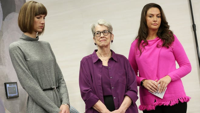 Rachel Crooks, Jessica Leeds and Samantha Holvey during the press conference held by women accusing President Trump of sexual harassment in New York on Dec. 11, 2017