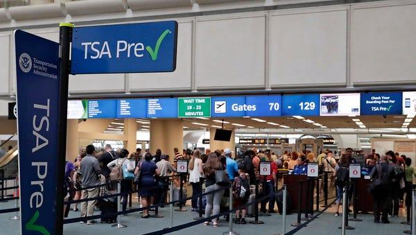 TSA precheck in Orlando, Florida, on June 21,...