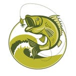 Bass Fish. Bass Fishing Lures. Bass Fishing tackle. Bass Fishing hook. Catching Bass Fish Vector. Fish Mascot. Fish Jumping Of Water. Perch Fishing Vector Illustration. Fish Jumping With Waves Inside Circle On Isolated White Background.