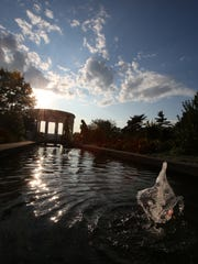 A fountain spurts at Untermyer Park in Yonkers