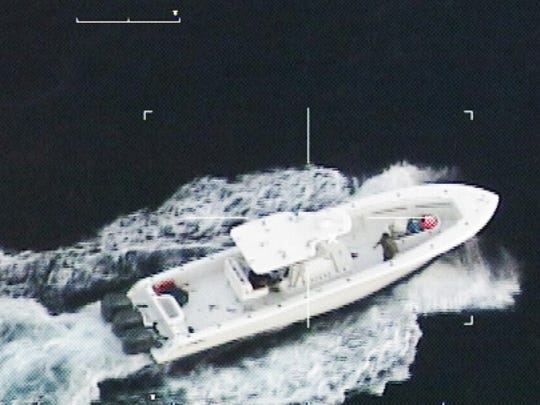 An U.S. Coast Guard image of the boat involved in a high speed chase recently.