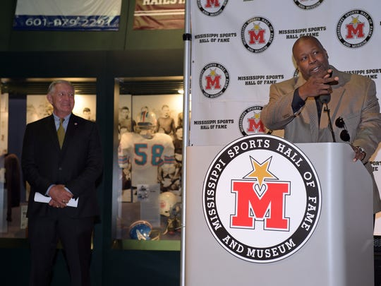 Marcus Dupree speaks at a press conference announcing