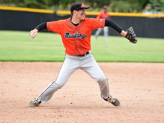 Northville third baseman Jake Moody gets set to throw