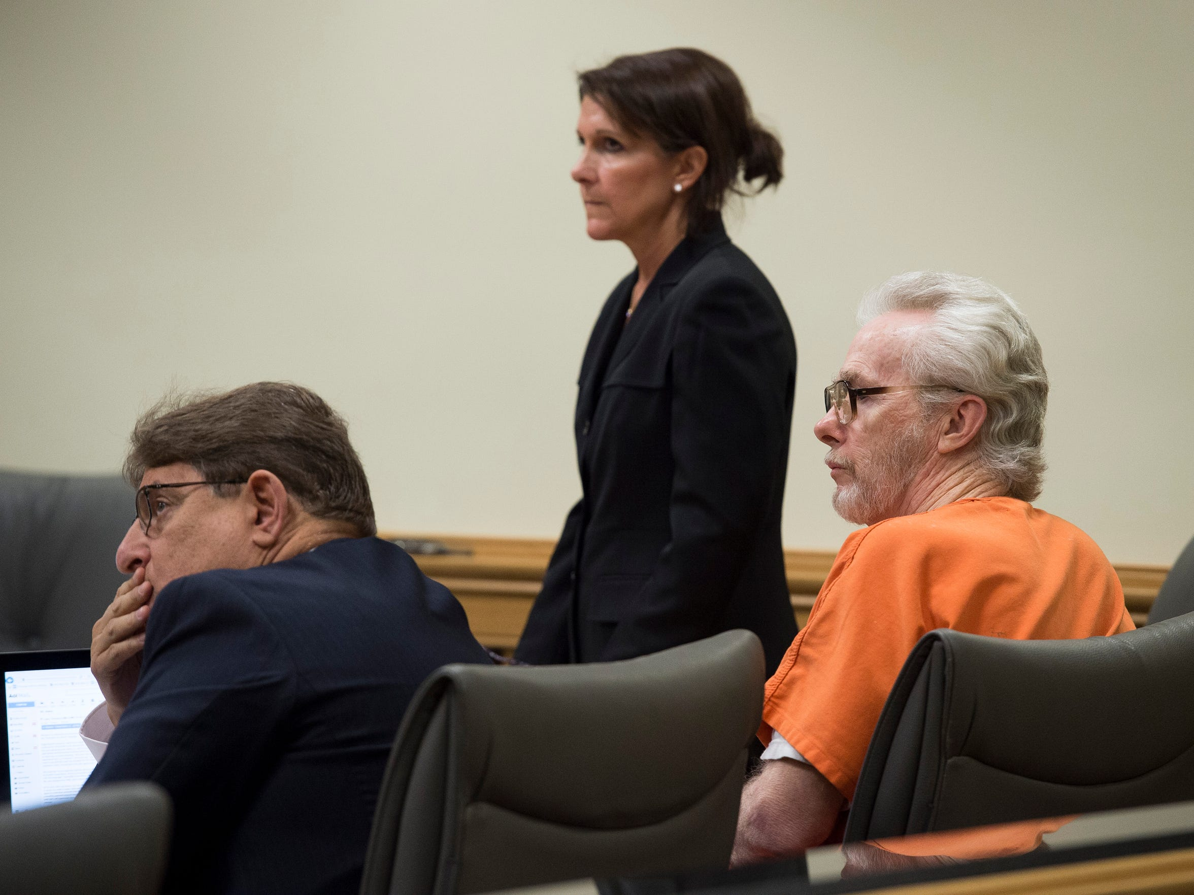 James Morgan (right), who killed 66-year-old Gertrude Trbovich in 1977 when he was 16 years-old, appears in court with defense attorneys Michael Salnick (left) and Lisa Viscome on Monday, June 11, 2018, at the Martin County Courthouse in Stuart. Despite four murder trials, four death sentences, one parole hearing and being sentenced to a life term in prison, Morgan, 57, is eligible for a resentencing because of a recent court ruling regarding juvenile murderers. To see more photos, go to TCPalm.com.