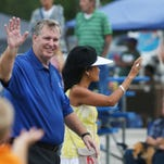Indianapolis Mayor Greg Ballard walks with his wife Winnie in the Eighth Annual Miracle Mile Parade, the highlight of the Southside's Gateway Fest on Aug. 30.