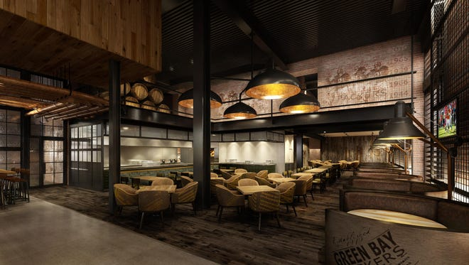 An artist's rendering of seating in 1919 Kitchen & Tap, which is scheduled to open July 24 in the Lambeau Field Atrium.