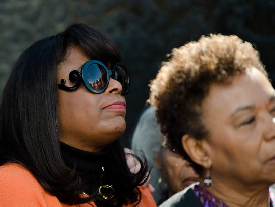 Congresswoman Terri Sewell looks on during a wreath