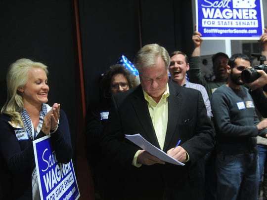 In this file photo, supporters cheer for Scott Wagner as he is introduced at Santander Stadium on Tuesday, March 18, 2014.