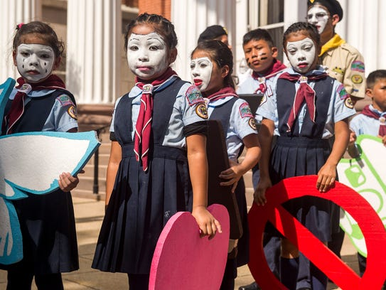 Children from Greencastle Knights Pathfinder Club wait