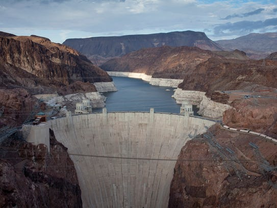 Water levels in Lake Mead, behind Hoover Dam, fell