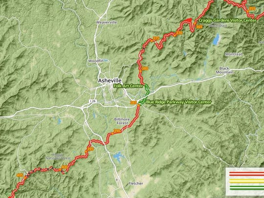 Blue Ridge Parkway closures are in red.
