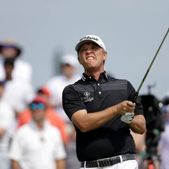 Aaron Wise follows his shot off the eighth tee during the third round of the AT&T Byron Nelson golf tournament, Saturday, May 19, 2018, in Dallas, Texas. (AP Photo/Eric Gay)