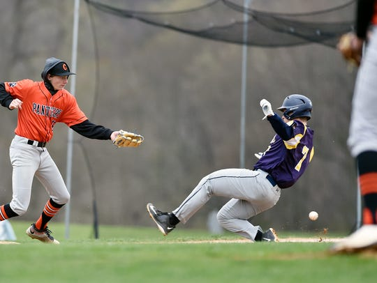 Eastern York's Brandon Knarr steals third base against