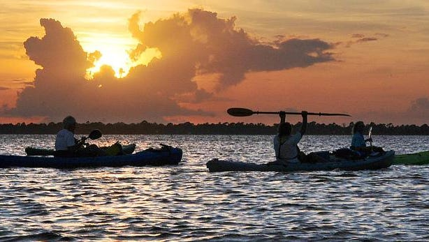 "A group nine of kayakers head out with Space coast Kayaking ""Guided kayak nature tours""  head out on the Banana River as the sun sets for Monday nights Bioluminescence kayaking tour (Bioluminescence is caused by billions of Dinoflagellates ,microscopic animals). CRAIG RUBADOUX FLORIDA TODAY"