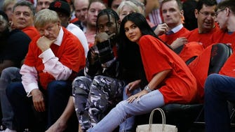 Travis Scott and Kylie Jenner watched courtside during the NBA Playoffs on April 25.