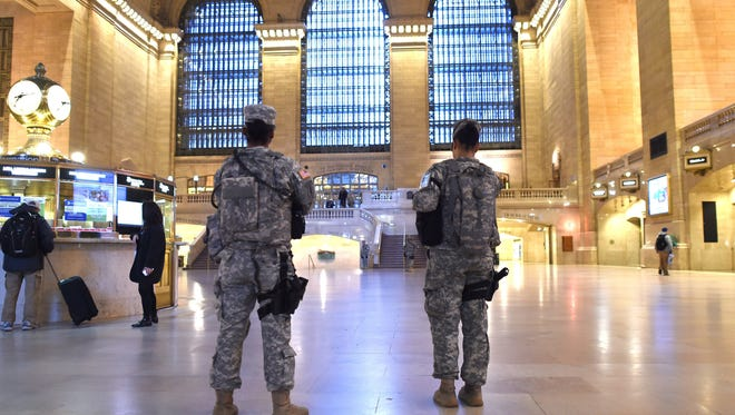 National Guard troops patrol Grand Central Terminal in New York last month the day after the attacks that killed 127 people in Paris.