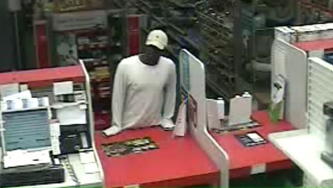 Richmond Police Department is looking for this suspect in Thursday's robbery at the west-side CVS.