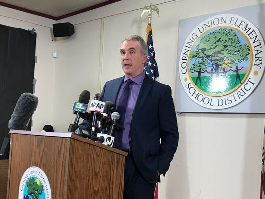 Richard Fitzpatrick, superintendent of the Corning Elementary Elementary School District, on Wednesday answers questions from reporters about the school shooting in Rancho Tehama.
