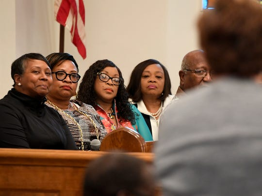 "Four members of the ""Grandview Five"" - Karen Crosby, Myneca Ojo, Carolyn Dow and Sandra Harrison - take part in a rally at the Dover United Church of Christ featuring state Sens. Art Haywood and Vincent Hughes, both from Philadelphia, Monday, June 11, 2018. John A. Pavoncello photo"