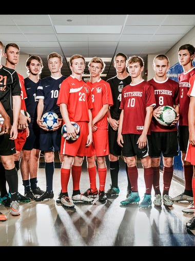 From left to right: Central York's Igor Gomes, Central York's Jared Wagner, West York's Darian McCauley, Dallastown's Kyle Hennigan, Dallastown's Kyle Schimmel, Susquehannock's Luke Thomas, Susquehannock's Brady Gallegos, Biglerville's Connor Griest, Gettysburg's Adam Yingling, Gettysburg's Matt Yingling, Gettysburg's Bobby Weikert, Bermudian Springs' Samuel Johnson and Bermudian Springs' Johnny King.