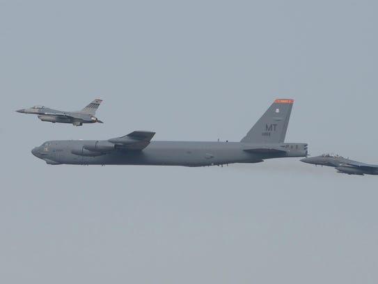 An American B-52 bomber flies over South Korea on January