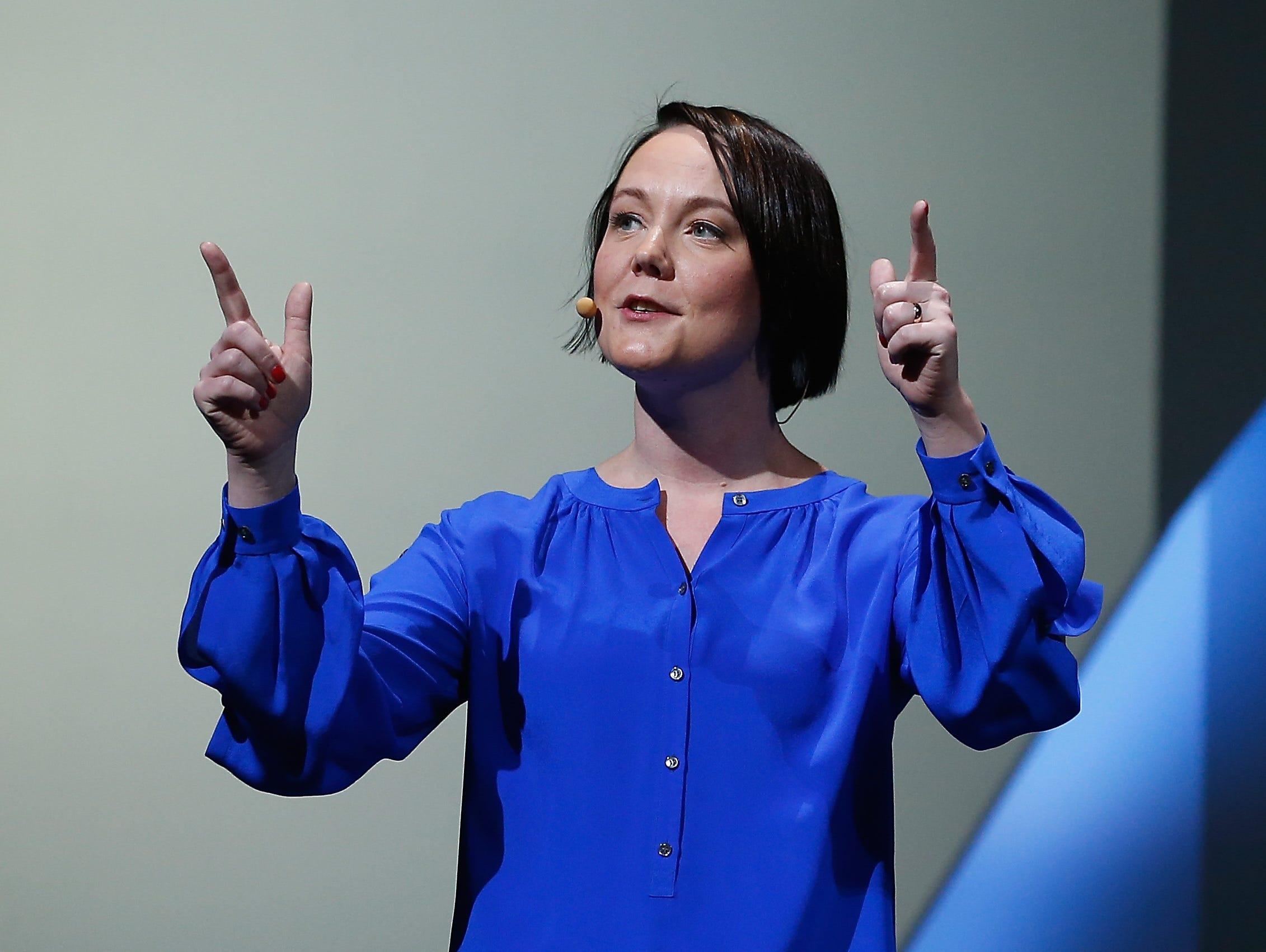 DICE senior producer Sigurlína Ingvarsdottir introduces 'Star Wars Battlefront' during the Electronic Arts E3 press conference.