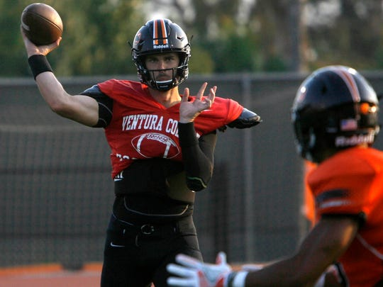 Ventura College quarterback Jake Luton throws the ball to a teammate during a scrimmage against L.A. Valley College.