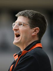 West De Pere coach Andy Werner shouts to his team during a WIAA Division 2 regional semifinal game against Ashwaubenon.