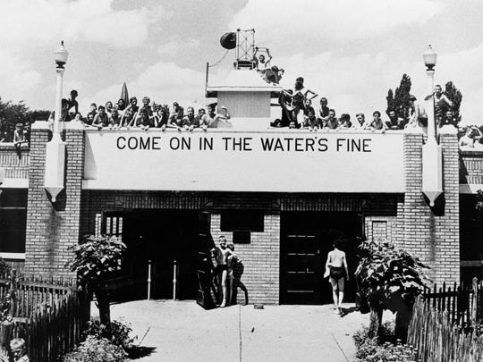 The entrance to the swimming pool in CFJ Park in Johnson City, around 1935.