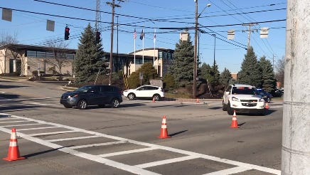 2 pedestrians were taken to Cincinnati Children's Hospital after they were struck by a vehicle at this Erlanger intersection Monday morning