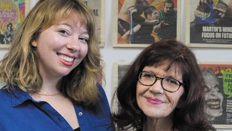 Outgoing NUVO editor Kat Coplen, left, poses with Laura McPhee, who started this week.