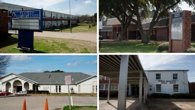Four schools are slated to close: Floyd Elementary (top left), Dozier Elementary (top right), Chisholm Elementary (bottom left) and Georgia Washington Middle schools (bottom right).