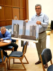 Architect Rob Donhoff speaks about plans for the new triangle development project at Lexington Road and Grinstead Drive. June 21, 2016