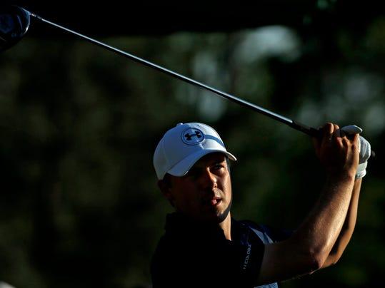 Jordan Spieth tees off during the third round of the Masters golf tournament Saturday, April 12, 2014, in Augusta, Ga. (AP Photo/David J. Phillip)